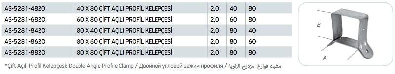 Çift Açılı Profil Kelepçesi Fiyatı